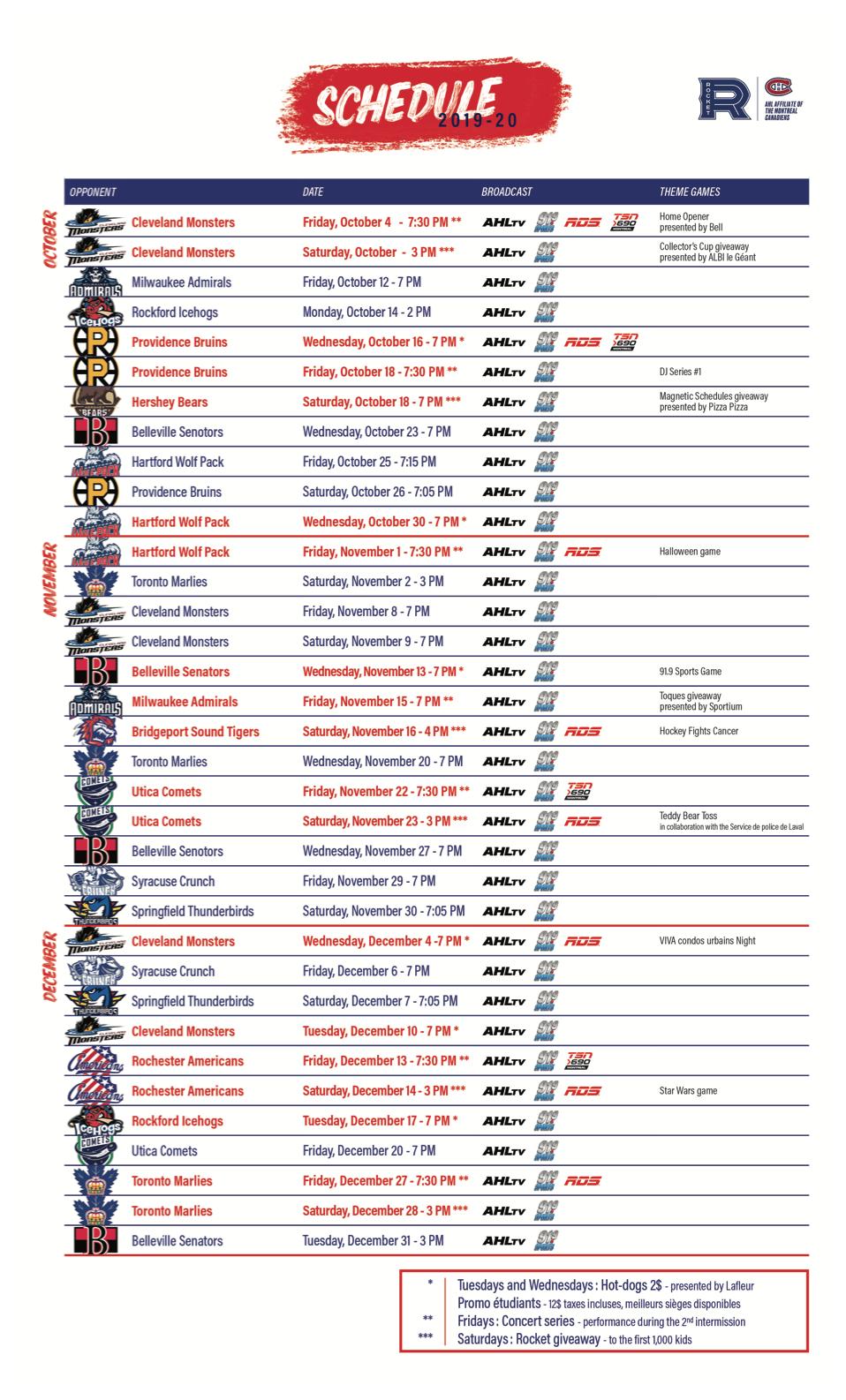 Le Rocket Annonce Le Calendrier De Diffusion Des Matchs Pour La Saison 2019 2020 Rocket Laval